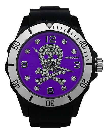 Waooh - Death Watch Rhinestones Black Head 39 Dial Colour Silver