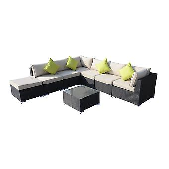 Outsunny 8PC Rattan Sofa Garden Furniture Aluminum Outdoor Patio Set Wicker Sofa Set Seater Black FIRE RESISTANT Sponge + Table Pillows Already Assembled