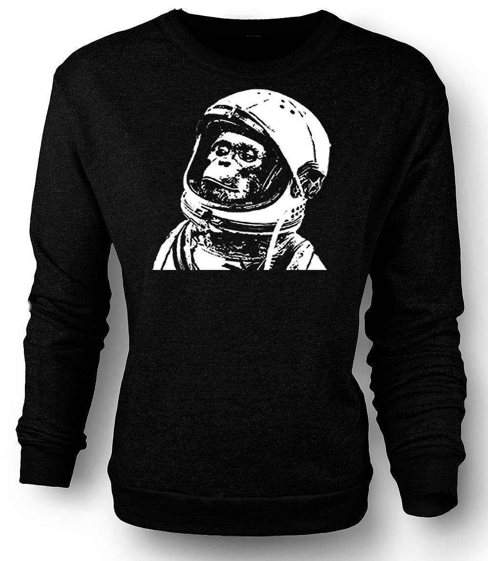 Mens Sweatshirt Space Monkey svart & hvit tegning