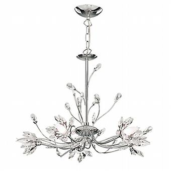 Searchlight 1885-5CC Hibiscus 5 Light Chandelier In Chrome