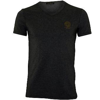 Versace Iconic V-Neck Stretch Cotton T-Shirt, Grey Melange