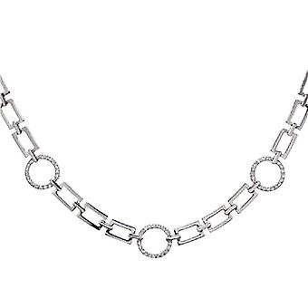 Annaleece Silvertone Linked 16 Inch Necklace Set With Crystals