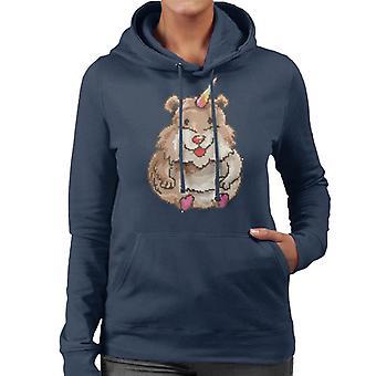 Criceto unicorno Pixel Art Felpa donna con cappuccio