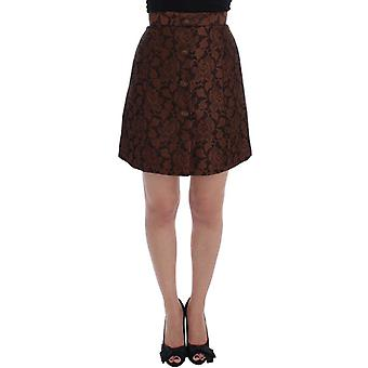 Dolce & Gabbana Brown Floral Brocade Mini Bubble Skirt -- SIG1833477