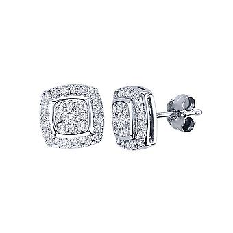 IGI Certified Solid 10k White Gold 0.50 Ct Round Cut Diamond Halo Stud Earrings