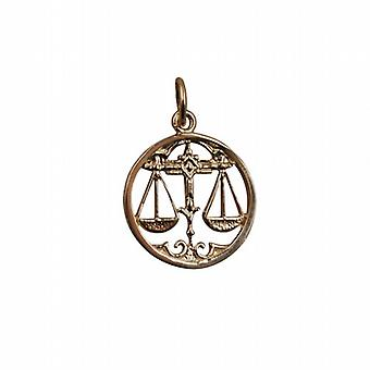 9ct Gold 11mm pierced Libra Zodiac Pendant