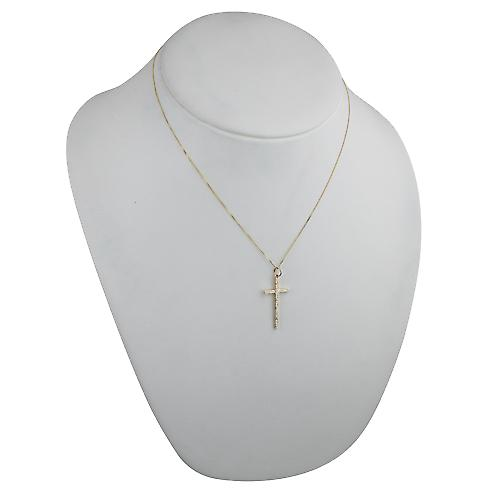 9ct Gold 31x16mm hand engraved solid block Cross with a curb Chain 18 inches