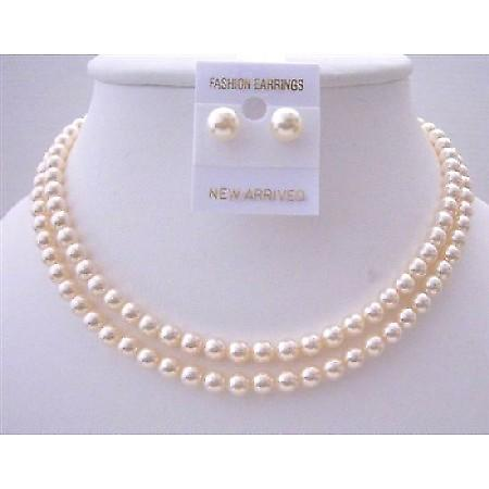 Bridal Jewelry Ivory Pearls 6mm Double Stranded Necklace Set