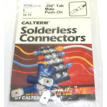 Calterm 10190 (CP-19) Wire Size 16-14 .250 Tab Male Push-On Connectors 5 Pcs
