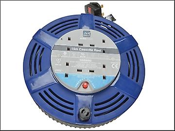 Masterplug Cassette Cable Reel 15 Metre 4 Socket Thermal Cut-Out Blue 10A 240 Volt