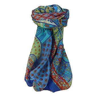 Amoreira seda tradicional lenço quadrado Qia azul por Pashmina & seda