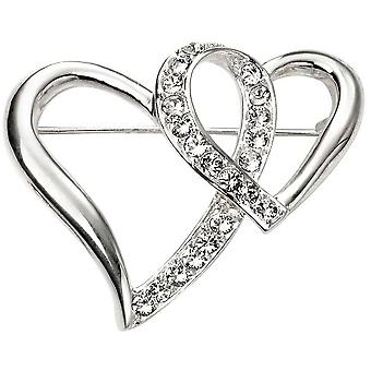Beginnings Heart Cubic Zirconia Brooch - Silver