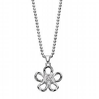 Elements Clear Crystal Cut Out Flower Pendant on 18