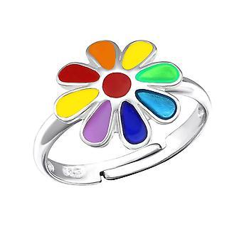Kinder-Sterling Silber Regenbogenblumenring