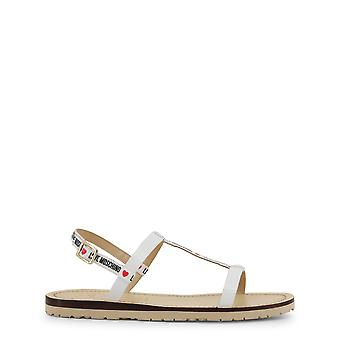 Love Moschino Women's Sandals White with Rubber Sole and Ankle Strap Buckle
