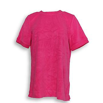 Denim & Co. Women's Top Essentials Round-Neck Short Sleeve Pink A307456