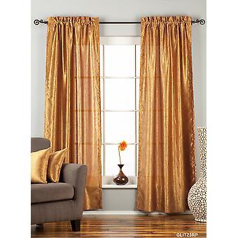 Gingery Gold Rod Pocket Textured Curtain / Drape / Panel - 84