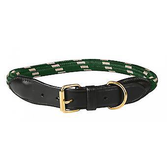 Weatherbeeta Rope Leather Dog Collar - Hunter Green/brown