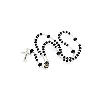 Necklace with Silver ribbon pendant clear black beads