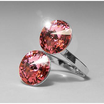 Ring with 2 Pink Swarovski crystals RMB 2.1