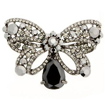 Butler and Wilson Black Diamond Bow Brooch