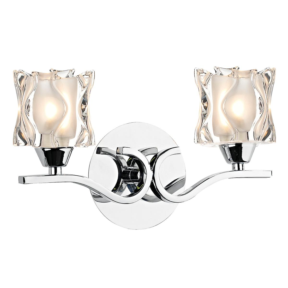 Dar ZOL0950 Zola Modern Double Wall Bracket With A Polished Chrome Finish