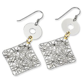 Sterling Silver and 18K Yellow Gold-plated Fancy Earrings