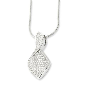 Sterling Silver and CZ Polished Fancy Necklace - 18 Inch