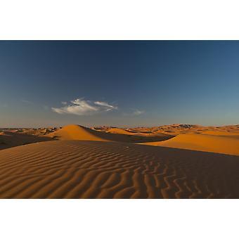 Morocco Sand dune at dusk near Merzouga in Sahara Desert Erg Chebbi area PosterPrint