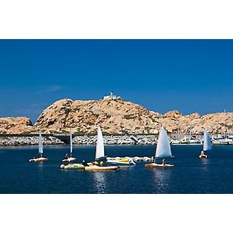 Sailboats in Corsica France Poster Print by Walter Bibikow