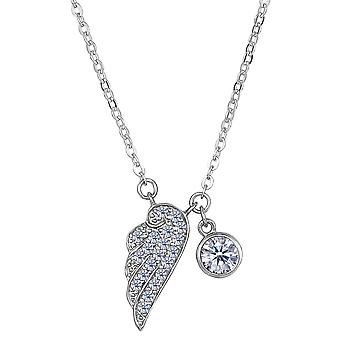 Sterling Silver CZ Angel Wing Charm Pendant Necklace, 18