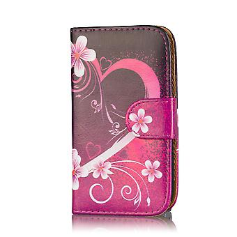 Design Book PU Leather Case Cover for Samsung Galaxy S5 G900 - Love Heart
