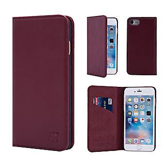 Cartera de cuero Real clásico 32 para Apple iPhone 7 / iPhone 8 - Borgoña