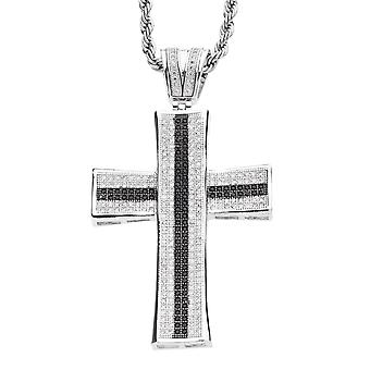 Iced out bling MICRO EFFENEN Hangers - STRIPE CONCAVE CROSS BK
