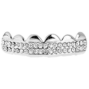 One size fits all bling Grillz - DOUBLE DECK TOP - silver