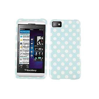 Generic Snap On Faceplate Protector Case for Blackberry Z10 - White Dots on Ligh