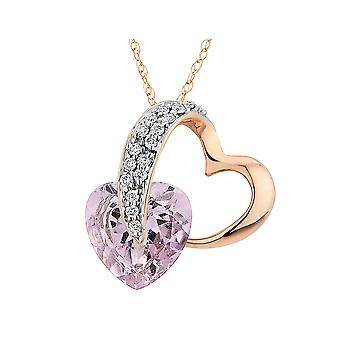Pink Amethyst Pendant Necklace with Diamond 3/4 Carats (ctw) in 10K Rose Gold with Chain