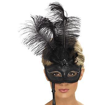Eye mask eye mask with holder black Baroque feather eye mask