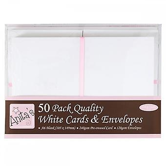 Anita's Anita's 50 Pack Quality Blank Cards White A6 (105 X 148mm)