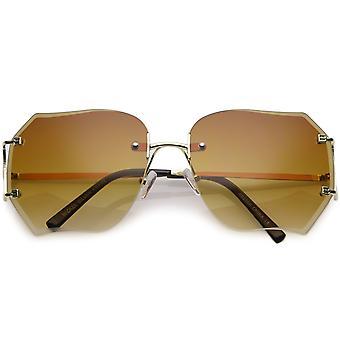Oversize bezoprawkowe okulary kwadratowe Slim Lens Gradient skośny metalowe ramiona 61mm