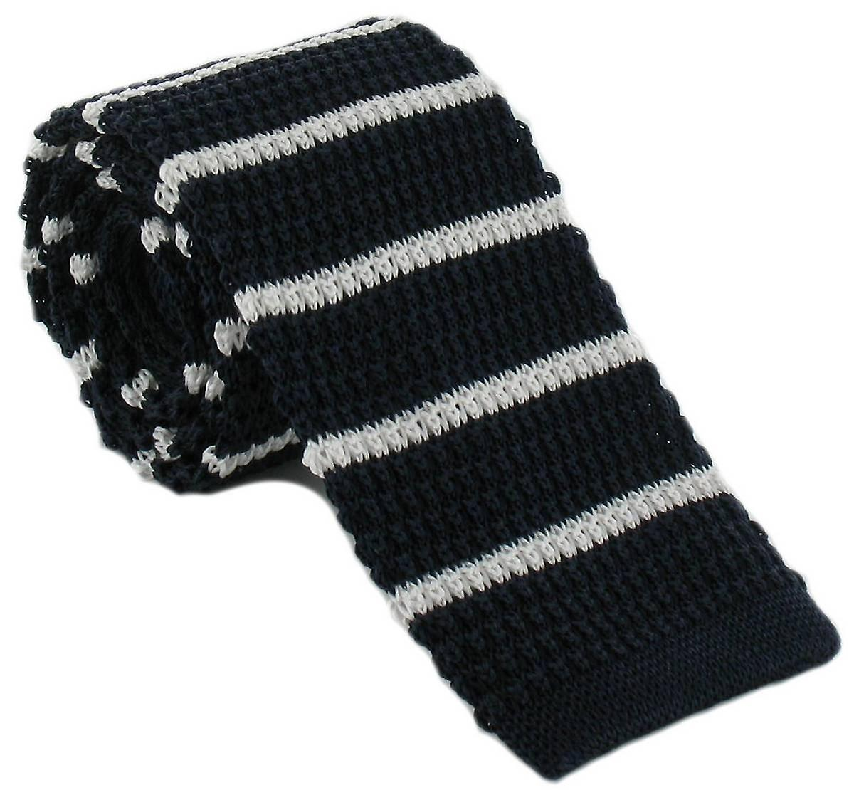Michelsons of London Silk Knitted Striped Skinny Tie - Navy/White