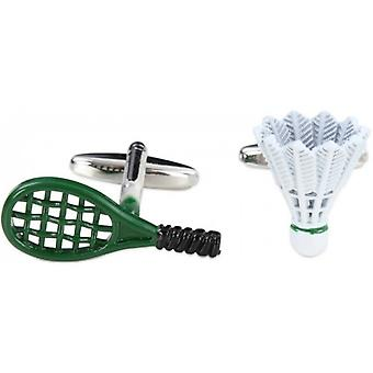 Zennor Badminton Racquet and Shuttlecock Cufflinks - Green/White