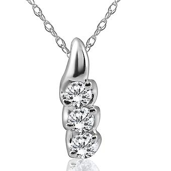 1 / 3ct trois pierres 3 diamant pendentif 14K or blanc