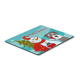 Snowman with Schnauzer Mouse Pad, Hot Pad or Trivet