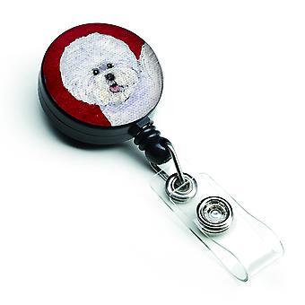 Carolines tesoros SS6038BR Bichon Frise insignia Retractable carretes o porta ID w