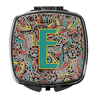 Letter E Retro Tribal Alphabet Initial Compact Mirror