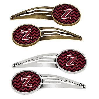 Letter Z Chevron Garnet and Black  Set of 4 Barrettes Hair Clips