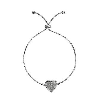 Verstelbare Glitter hart - 925 Sterling zilveren ketting armbanden - W34685X