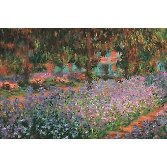 El jardín de artistas en Giverny 1900 impresión de póster por Claude Monet (36 x 24)