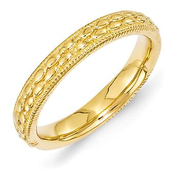 3.5mm Sterling Silver Stackable Expressions Gold-plated Patterned Ring - Ring Size: 5 to 10